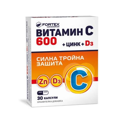 Fortex - Vitamin C 600 + zinc + D3 x30 caps